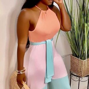 Multi-color Halter Patchwork One-piece Jumpsuit